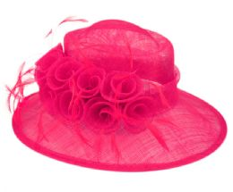 12 Wholesale Sinamay Fascinator With Flower And Feather Trim In Hot Pink