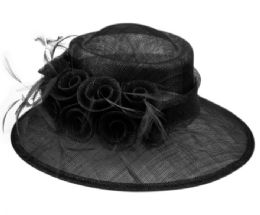 12 Wholesale Sinamay Fascinator With Flower And Feather Trim In Black