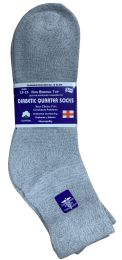 24 Units of Yacht & Smith Men's King Size Loose Fit NoN-Binding Cotton Diabetic Ankle Socks,gray Size 13-16 - Big And Tall Mens Diabetic Socks
