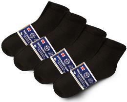 24 Units of Yacht & Smith Mens Cotton Diabetic NoN-Binding Ankle Socks Size 10-13 Black - Men's Diabetic Socks