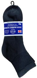24 Units of Yacht & Smith Women's Diabetic Cotton Ankle Socks Soft NoN-Binding Comfort Socks Size 9-11 Black Bulk Pack - Women's Diabetic Socks