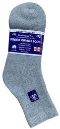 24 Units of Yacht & Smith Women's Diabetic Cotton Ankle Socks Soft NoN-Binding Comfort Socks Size 9-11 Gray Bulk Pack - Women's Diabetic Socks