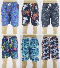 72 Units of Men's Assorted Print Bathing Suit - Mens Bathing Suits
