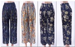 72 Units of Women's Pleated Palazzo Pants W/ Belt - Womens Capri Pants