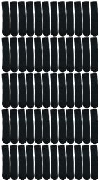 72 Units of Yacht & Smith Kids Solid Tube Socks Size 6-8 Black - Boys Crew Sock
