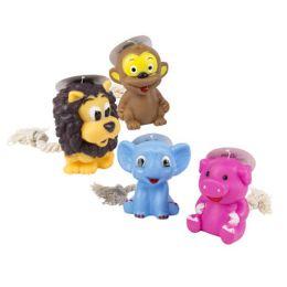68 Units of Dog Toy Vinyl 4 Animal Assort W/rope & Squeaker - Pet Toys