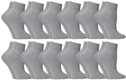 24 Units of Yacht & Smith Women's NO-Show Ankle Socks Size 9-11 Gray Bulk Pack - Womens Ankle Sock