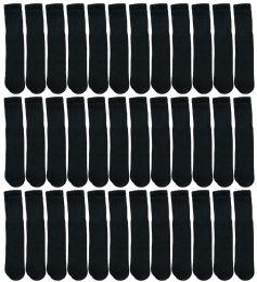 36 Units of Yacht & Smith 28 Inch Men's Long Tube Socks, Black Cotton Tube Socks Size 10-13 - Mens Tube Sock