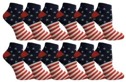 12 Units of Yacht & Smith Usa Printed Ankle Socks Size 9-11 - Womens Ankle Sock