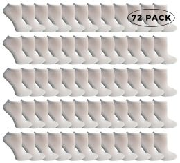 72 Units of Yacht & Smith Kids No Show Ankle Socks Size 4-6 White - Boys Ankle Sock