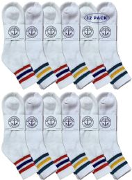 12 Bulk Yacht & Smith Men's King Size Cotton Sport Ankle Socks Size 13-16 With Stripes