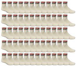 72 Bulk Yacht & Smith Men's King Size Cotton Sport Ankle Socks Size 13-16 Usa White