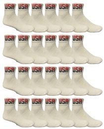 24 Bulk Yacht & Smith Men's King Size Cotton Sport Ankle Socks Size 13-16 Usa White