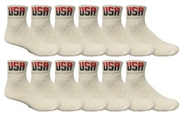 12 Bulk Yacht & Smith Men's King Size Cotton Sport Ankle Socks Size 13-16 Usa White