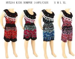 144 Units of Kids Romper With Fringes Assorted - Girls Apparel