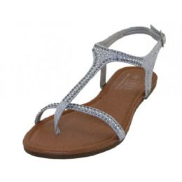 18 Units of Women's Rhinestone Thong Sandals Silver Color - Women's Sandals
