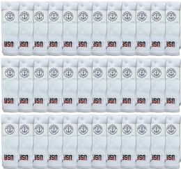 36 Bulk Yacht & Smith Women's Cotton Usa Tube Socks, Referee Style Size 9-15