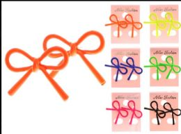 36 Wholesale Bow Stud Earrings Assorted Color