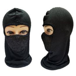 36 Units of Black Only Ninja Face Mask With Mesh Front - Unisex Ski Masks