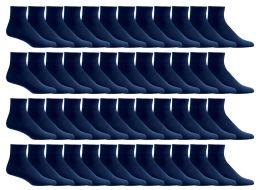 48 Units of Yacht & Smith Men's Loose Fit NoN-Binding Soft Cotton Diabetic Quarter Ankle Socks,size 10-13 Navy - Men's Diabetic Socks