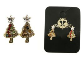 36 Wholesale Christmas Tree Stud Earrings With Crystal Accents Gold Tone And Multi Color