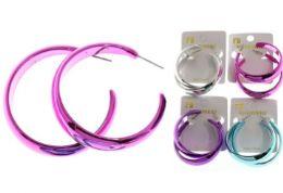 36 Wholesale Chrome DanglE-Earrings Multi Color