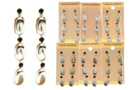 36 Wholesale Drop Dangle Earrings With Crystal Accents Silver Tone And Multi Color