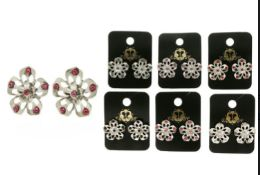 36 Units of Flower Post Earrings With Assorted Colored Crystal Accents - Earrings