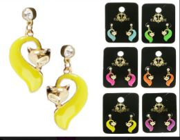 36 Wholesale Fox Dangle Earrings With Crystal Accents Multi Color And Gold Tone