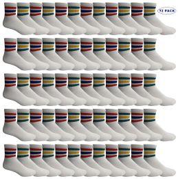 72 Bulk Yacht & Smith Men's King Size Cotton Sport Ankle Socks Size 13-16 With Stripes