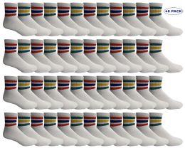 48 Bulk Yacht & Smith Men's King Size Cotton Sport Ankle Socks Size 13-16 With Stripes