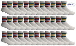 36 Bulk Yacht & Smith Men's King Size Cotton Sport Ankle Socks Size 13-16 With Stripes