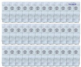 36 Units of Yacht & Smith Kids Solid Tube Socks Size 6-8 White - Boys Crew Sock