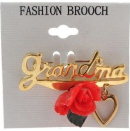 36 Wholesale Gold Tone Grandma With Rose And Heart Brooch Pins