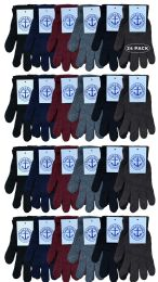 24 Units of Yacht & Smith Men's Winter Gloves, Magic Stretch Gloves In Assorted Solid Colors - Knitted Stretch Gloves