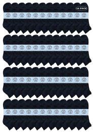 48 Bulk Yacht & Smith Men's King Size Cotton Terry Cushion Sport Ankle Socks Size 13-16 Black