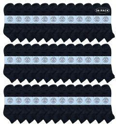 36 Bulk Yacht & Smith Men's King Size Cotton Terry Cushion Sport Ankle Socks Size 13-16 Black