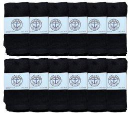 12 Units of Yacht & Smith Kids Black Solid Tube Socks Size 4-6 - Boys Crew Sock