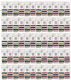60 Units of Yacht & Smith Kids Cotton Tube Socks White With Stripes Size 4-6 - Boys Crew Sock