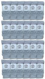 24 Units of Yacht & Smith Kids Solid Tube Socks Size 6-8 Gray - Boys Crew Sock