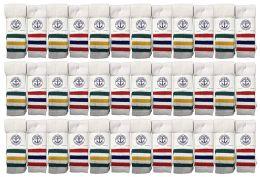 36 Units of Yacht & Smith Kids Cotton Tube Socks Size 6-8 White With Stripes - Boys Crew Sock