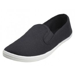 24 of Children's Slip On Twin Gore Canvas Shoes *black Upper With White Sole ( *black Color )
