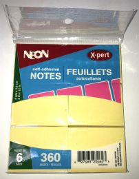 50 Units of 6 Pack Yellow 2x1/2 Sticky Notes, Post Notes - Adhesive note