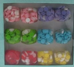 36 Wholesale Solid Acrylic Hexagon Ring With Embedded Circles Assorted Colors