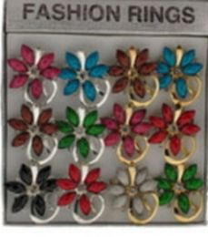 36 Wholesale Silver Tone And Gold Tone Rings With Assorted Colored Stones In A Flower Pattern
