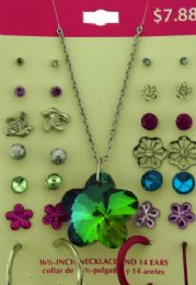 36 Wholesale Earrings And One Necklace With A Flower Shaped Iridescent Charm
