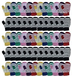 240 Units of Yacht & Smith Kids Striped Mitten With Stretch Cuff Ages 2-8 - Kids Winter Gloves