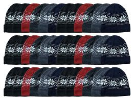 36 Units of Yacht & Smith Unisex Snowflake Fleece Lined Winter Beanie 6 Colors - Winter Beanie Hats