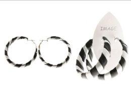 36 Wholesale Silver Tone And Black Fabric Hoop Earrings