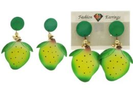 144 Wholesale Strawberry Dangle Earrings With Drop Accents Green And Yellow